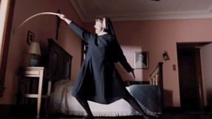 Sister Gloria, practicing her fencing.